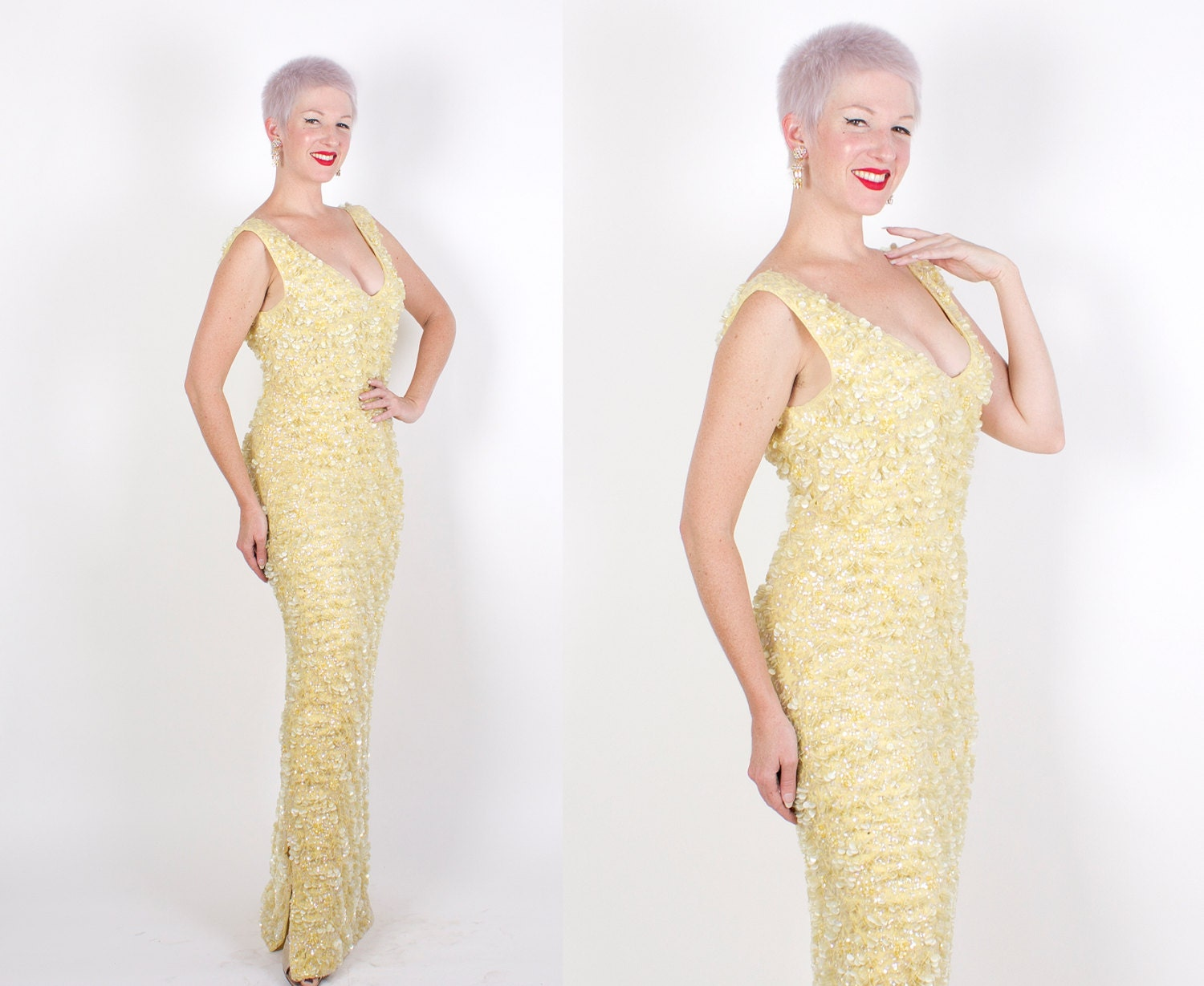 GLAMOROUS 1960s Iridescent Pale Yellow Curve-Hugging Hourglass Hand Knit Fully Sequined & Beaded Floor Length Evening Gown - PlusSize L / XL