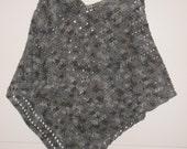 Womens gray crocheted poncho