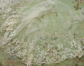 4.25 yards Antique French cotton lace fabric large 1920 art deco dress flapper dress making material muslin sheer