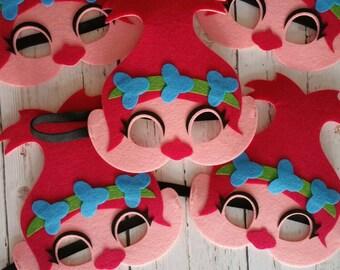 Troll inspired Poppy Felt Mask, Bulk Set of 5