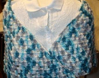 Crochet Half-Granny Square Triangle Shawl, Wrap (SHW-11)
