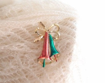 1940s Christmas Bell brooch pin red & green gold-tone metal