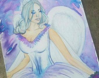 """11""""x15"""" Original Watercolor Fantasy Angel"""