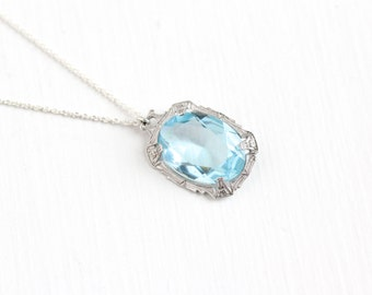 Vintage Sterling Silver Aqua Blue Glass Stone Pendant Necklace - Art Deco 1930s Simulated Aquamarine Oval March Birthstone Charm Jewelry