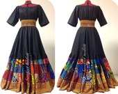 Alissa - Long Bold African Patchwork Dress, Vibrant  Bohemian Maxi Dress, Barefoot Modiste Handmade, One of a Kind, Suited for size - M to L