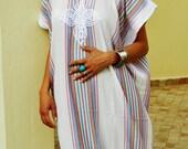 PREXMAS SALE 10% OFF Bedouin Style Resort Caftan Kaftan- White-Perfect as loungewear, as beachwear,cover ups,resortwear, Kaftan, maternity,