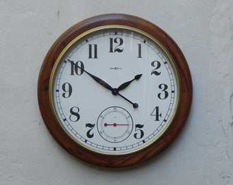 Very Large Howard Miller Round Wall Wood Wall Clock