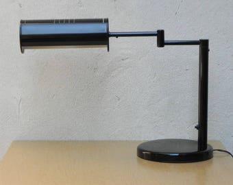 Nessen Modern Swing Arm Desk Lamp in Black, with Cylinder Shroud