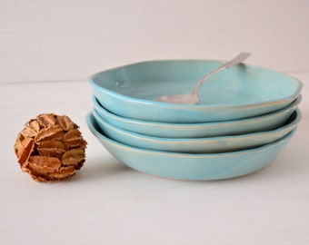 Handmade Ceramic Bowls, Stoneware Bowls, Blue Stoneware, Set of 4, READY TO SHIP