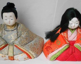 Superb pair of  Vintage Kimekomi Japanese Boy & Girl Kimono dolls