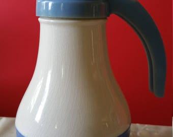 Vintage Syrup Ceramic Pitcher blue ceramic