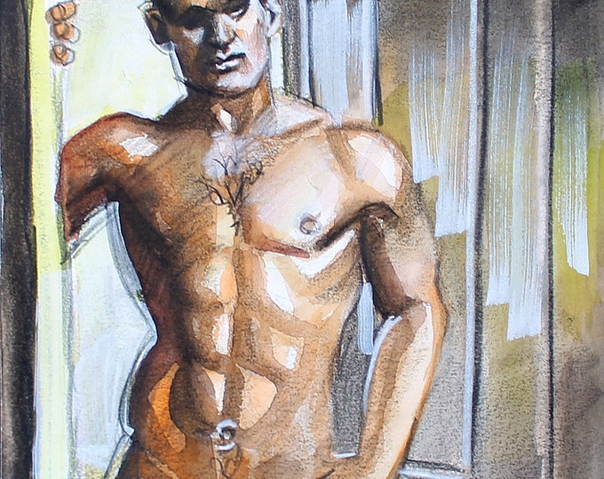 Chiaroscuro Twink, watercolor and crayon on 12x12 inch cotton paper by Kenney Mencher