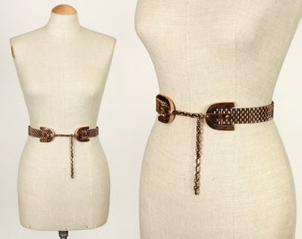 vintage 1950s RENOIR copper belt • metal mesh & buckle design