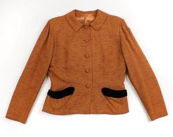 vintage 1950s nipped waist jacket • flecked fabric princess fit size large