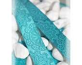 Jacquard Ribbon, Petrol Lace Ribbon,  Farbenmix woven blue flower ribbon webband,  Sewing Tape, 1 metre