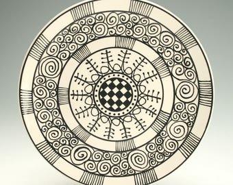 """Black and White Plate 9-3/4"""", Dinner Plate, Ceramic Pottery Platter, Mandala Art, Black Graphic Designs, Ceramic Dinnerware"""