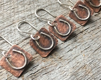 Lucky Horseshoe Dainty Dangle Rustic Hammered Earrings in Copper and Sterling Silver