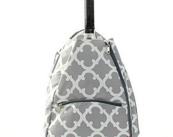 Grey and White Geometric design Tennis bag tote Backpack style Personalized for FREE