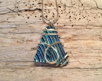 Dichroic glass jewelry, Dichroic glass, Dichroic Glass Pendant, Fused Glass Jewelry, Fused layered Dichroic Necklace, Dichroic Glass