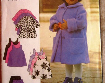 Easy to Sew Toddler Girls Coat, Jumper, Vest, Pants and Hat Sizes 1 2 3 4  UNCUT Butterick Pattern 3267