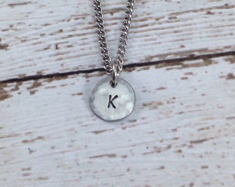 Tiny Initial necklace in stainless steel