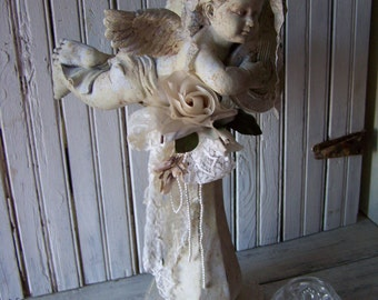 Shabby White Gray Up-cycled Cherub Statuary Hand Artist Created Crusty Rusty Aged Faux Painted Finish Tattered Lace Vintage Milinery Flower