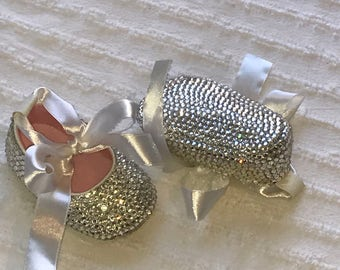 Ready To Ship! Size 1 0-3 Months Clear Crystal & White Babys First Bling Completly Covered Crystal Rhinestone Shoes