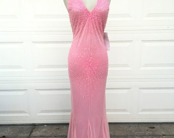 Vintage nos 1980s 1990s pink sequins beaded halter cross back pageant formal gown dress size S M