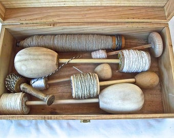 Handmade Reproduction Darning Egg Thread Spools  Handmade Kitchen Utility Upcycle Box Full Handmade Ball Twine Rope Home and Living Set