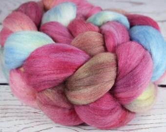 BOX of CHOCOLATES: Polwarth Merino Bright Nylon roving - 4.0 oz - Hand dyed wool roving - Valentine's Day wool roving - Spinning wool roving