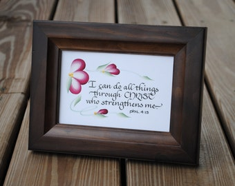 Inspirational Scripture Cards and Prints - Philippians 4:13 - Hand lettered and painted