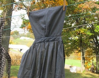 "Pinner Apron -navy blue and natural printed plaid - 48"" total length - 82"" long ties"