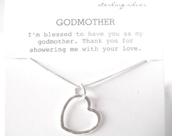 Open Heart Necklace Sterling Silver, Godmother Gift, Gift for Godmother, Godmother Jewelry, Godmother Necklace