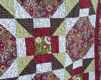 Throw Quilt in plum, light sage green, dark red, paisley quilt, lap quilt, couch quilt, one of a kind, Quiltsy Handmade