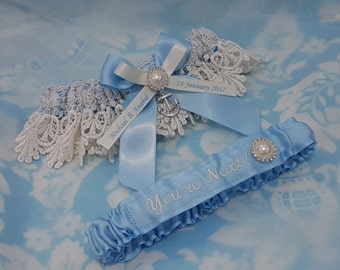 Soft blue Personalised Anchor Wedding Garter set , nautical anchor and pearl Blue satin and Venise Lace, monogrammed, you're next garter