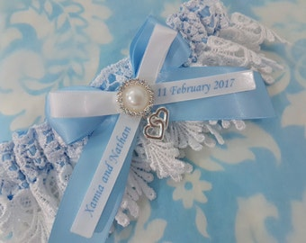 Soft blue Personalised heart Wedding Garter - heart and pearl Blue satin and Venise Lace - monogrammed - you're next garter