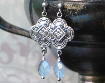 Romantic Aquamarine Earrings / Quatrefoil / Historical Jewelry / 18th and 19th centuryJewelry