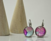 Pretty Puddles in Pink and Aqua, Paper Opal, Stainless Steel, Lever Back, Hoop Earrings