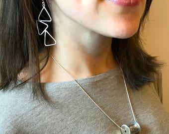 Long Handmade Sterling Silver Triangle Dangle Earrings