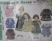 Toddler's Dresses, Headband, Pantaloons, Purse, Bear, Bunny Pattern - Sunrise Designs Ribbons and Roses Sizes 2T-5, Breast 21 - 24,  Uncut