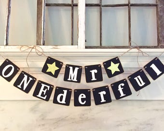 MR ONEDERFUL banner, first birthday, black and gold, birthday photo prop, photo backdrop, stars, wonderful, boy birthday, 1st birthday
