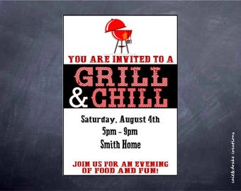 Grill and Chill Barbeque Backyard Neighborhood Party Invitation Digital Printable