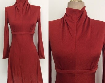 1970's Polyester Deep Red Vintage Mod Mini Dress Size XS Small by Maeberry Vintage