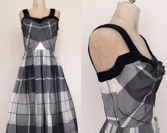 20% OFF 1950's Plaid Black + White Chiffon Vintage Party Dress Sz XS/S by Maeberry Vintage