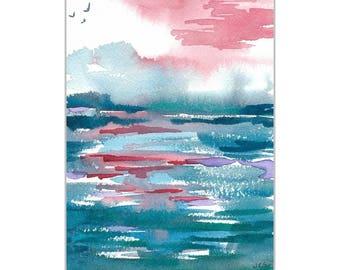 "Original Watercolor, Seascape, Abstract Art, Multi-color, Ocean, Zen,  Contemporary Art, Aqua Blue 5""X7"", Wall Art, Home decor"
