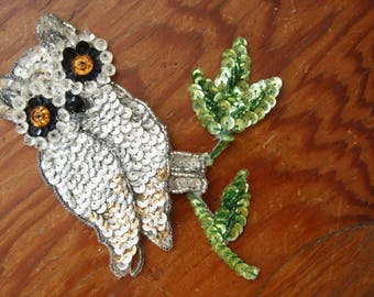 Vintage 70's OWL Sequin Patch APPLIQUE Sewing Sew On