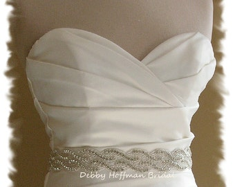 Bridal Belt, 29 inch Jeweled Wedding Dress Sash, Rhinestone Crystal Wedding Belt, Silver Beaded Bridal Sash, 2 Row Belt, No. 1121S2-29