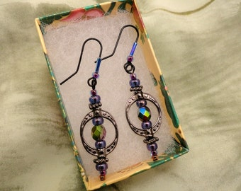 Glass Bead and Black Wire Earrings