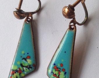 Vintage Mid Century Enamel on Copper Earrings Turquoise