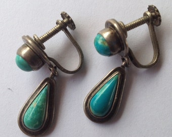 Sale Vintage Turquoise and Sterling Drop Earrings Mexico